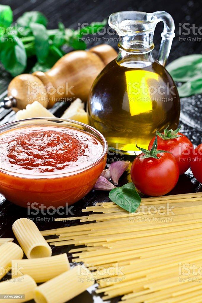 Traditional homemade tomato sauce stock photo