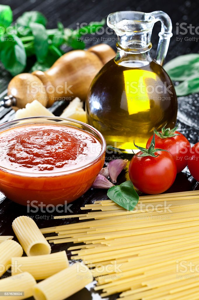 Traditional homemade tomato sauce stock photo