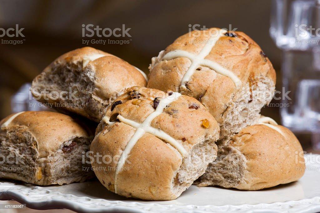 traditional hot cross buns stock photo