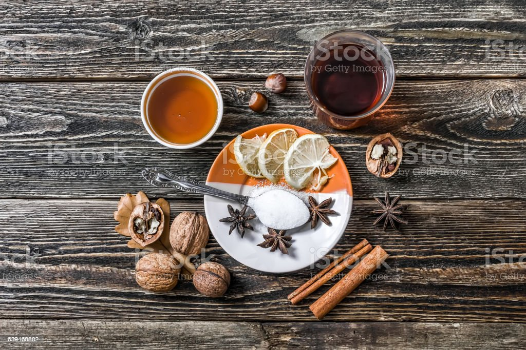 Traditional hot mulled wine stock photo