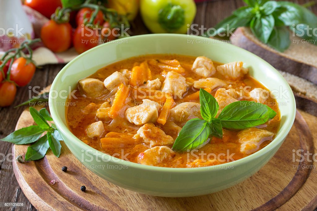 Traditional hot ragout with meat stock photo