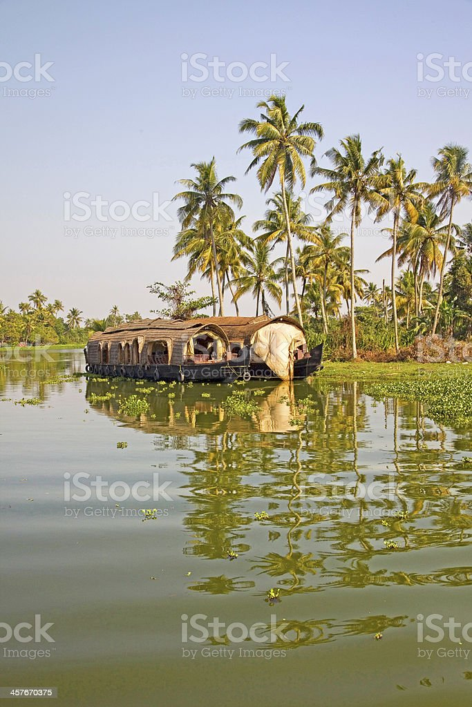 Traditional house boat, Alleppey, Kerala, India. stock photo