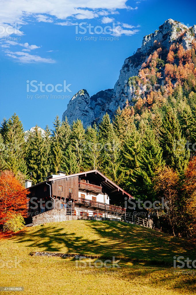 Traditional house in Alps stock photo