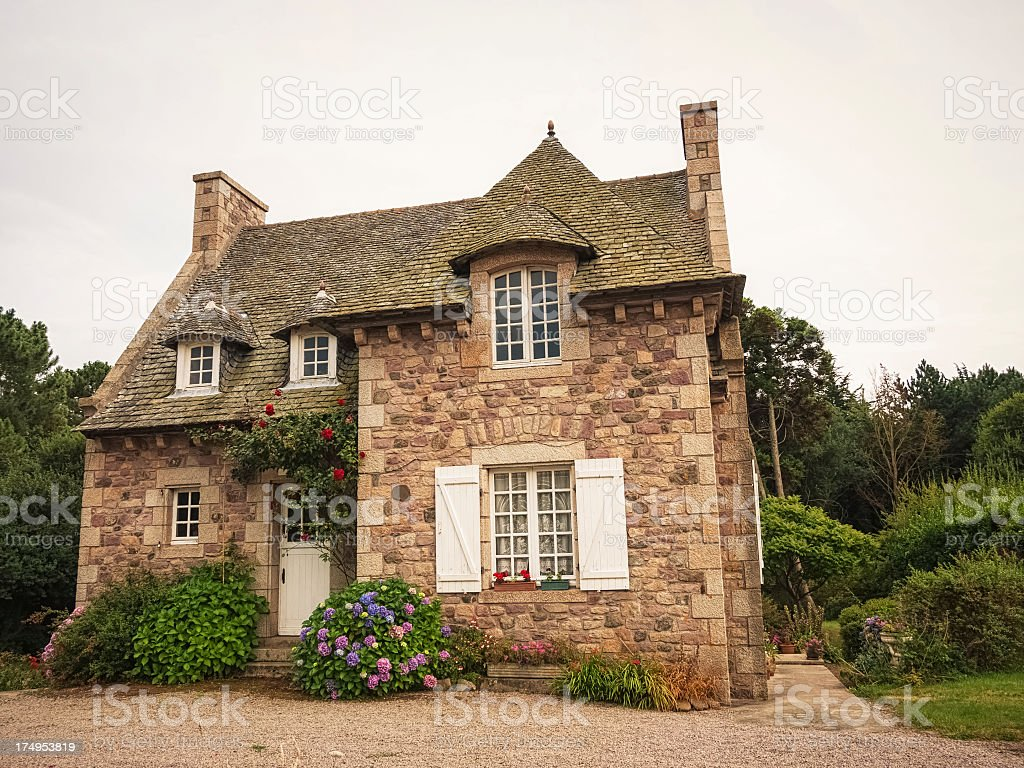 Traditional house in Brittany, France stock photo