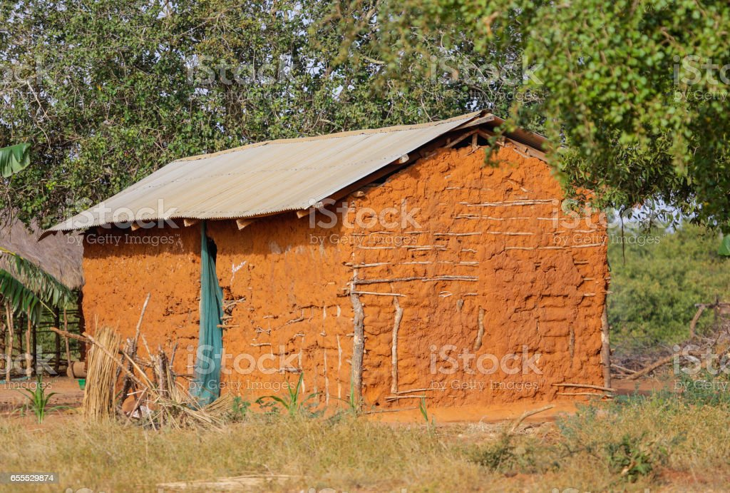 Traditional house in Malindi region. Kenya. stock photo