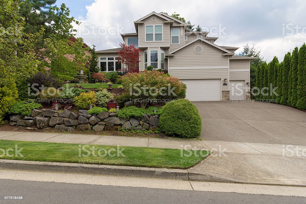 Traditional House in North America Suburbs stock photo