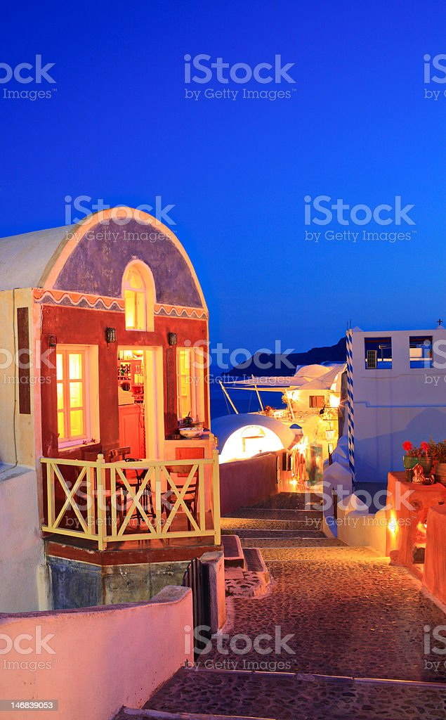 Traditional house in Oia village on Santorini island royalty-free stock photo