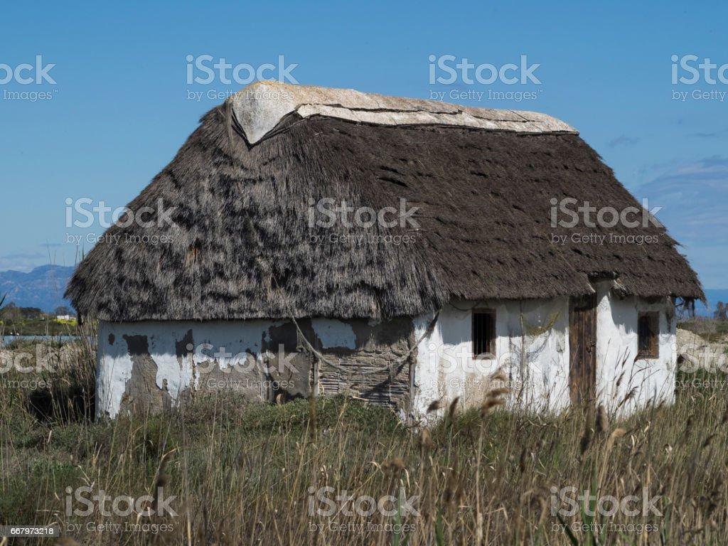 Traditional house of the Ebro Delta stock photo