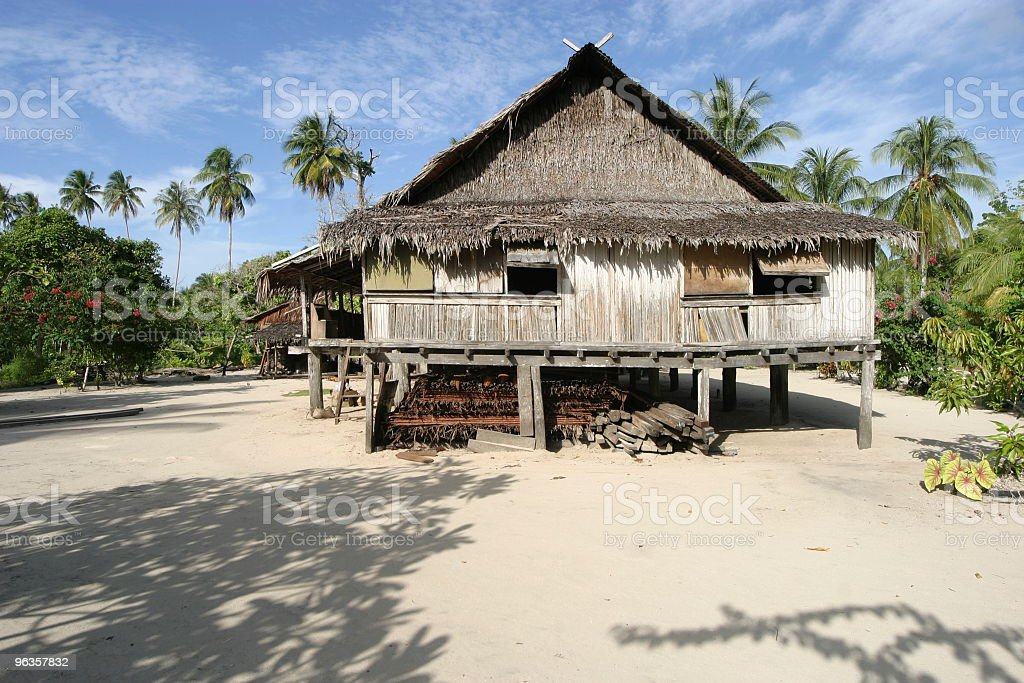 Traditional house of the Sepik people,  Papua New Guinea royalty-free stock photo