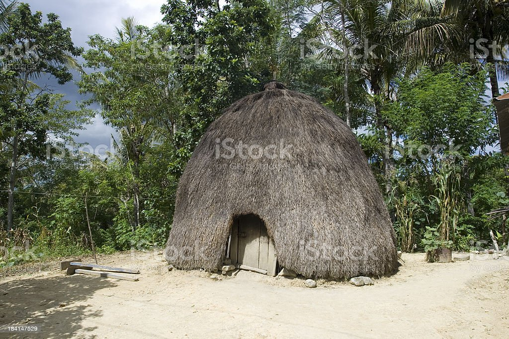 Traditional house of the Timorese people stock photo