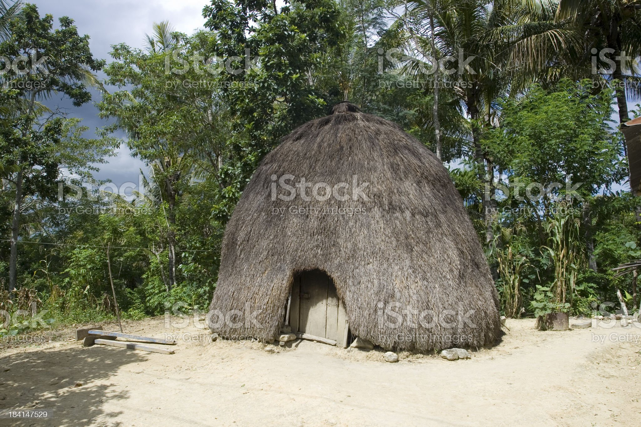 Traditional house of the Timorese people royalty-free stock photo