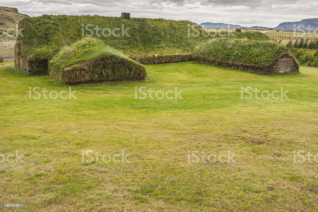 Traditional house with mossy roof - Pjodveldisbaer, Iceland. royalty-free stock photo