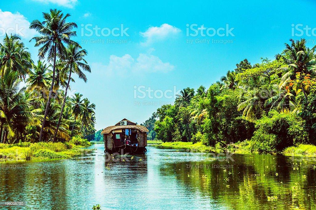 Traditional Houseboat on Kerala Backwaters stock photo