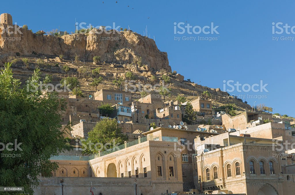 traditional houses at  middleeastern town of mardin turkey stock photo