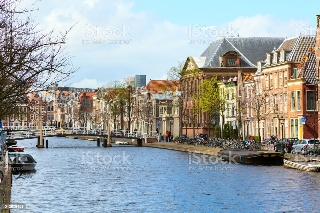 Traditional houses, canal perspective in Leiden, Netherlands stock photo