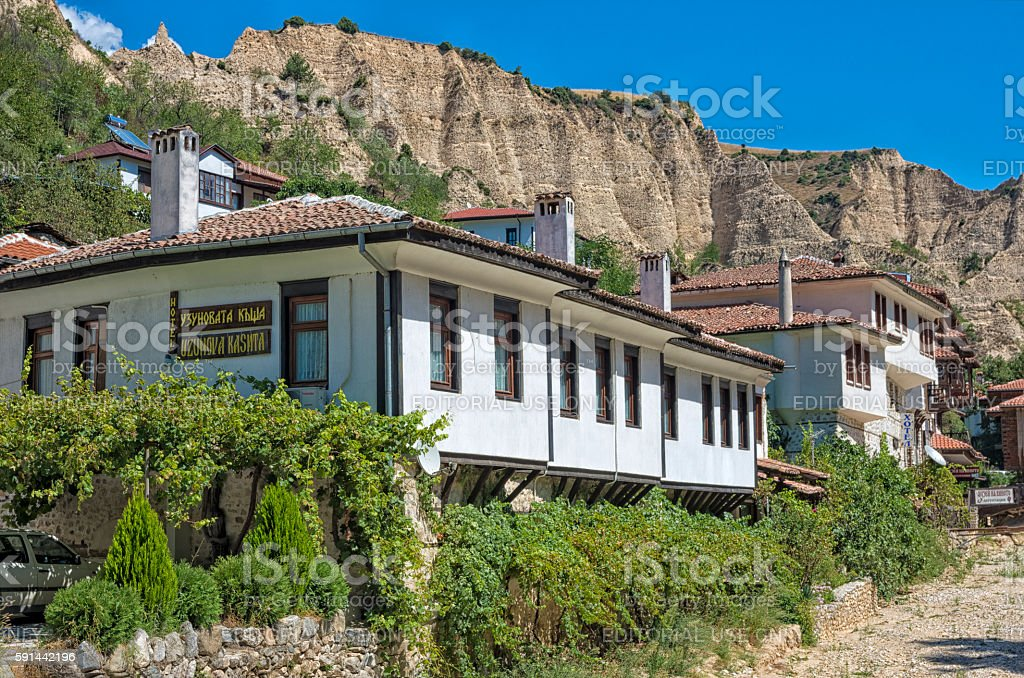 Traditional houses in Melnik, Bulgaria. royalty-free stock photo