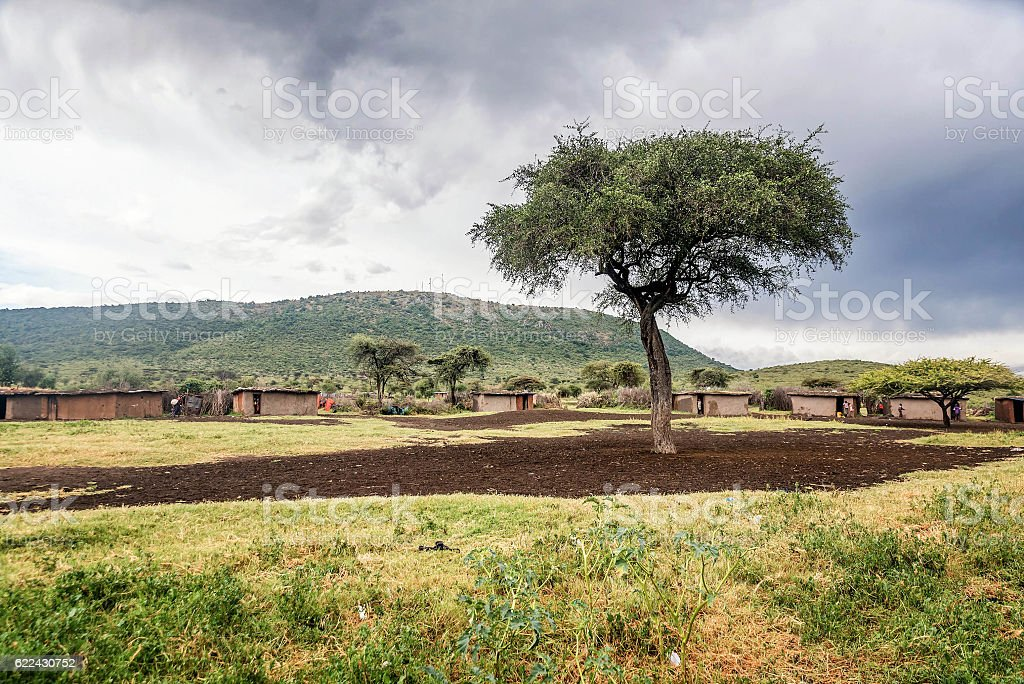 Traditional houses in the village in Masai Mara, Kenya stock photo
