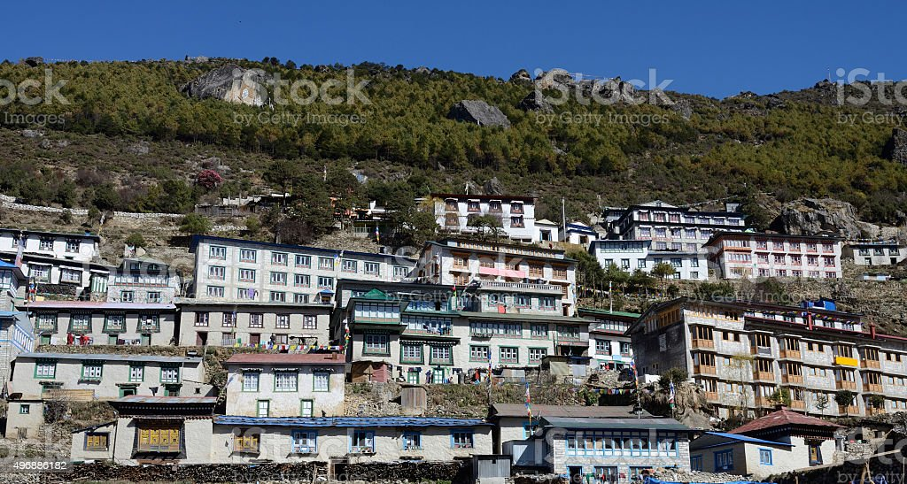 Traditional houses of Namche Bazaar village, capital of sherpa people stock photo