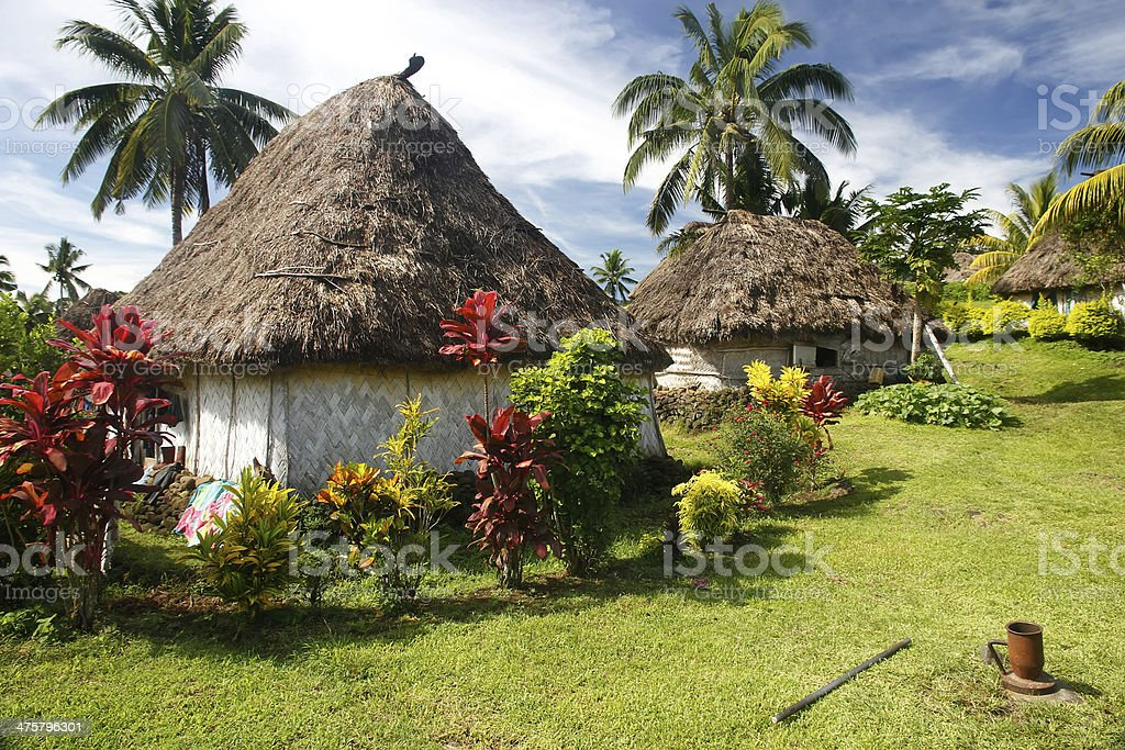 Traditional houses of Navala village, Viti Levu, Fiji stock photo