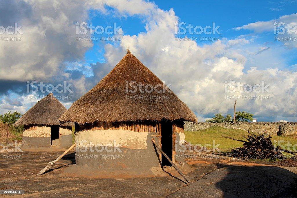 Traditional houses, Zimbabwe stock photo