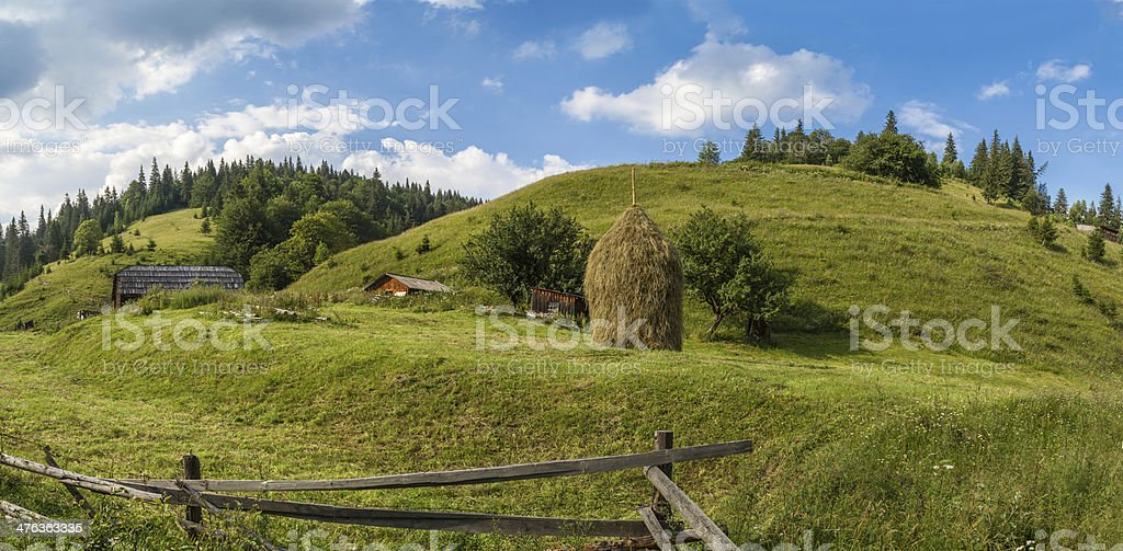 Traditional Hucul village buildings stock photo