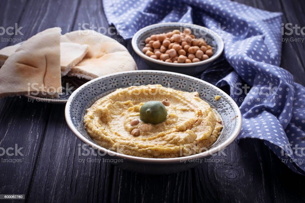 Traditional hummus and pita bread stock photo