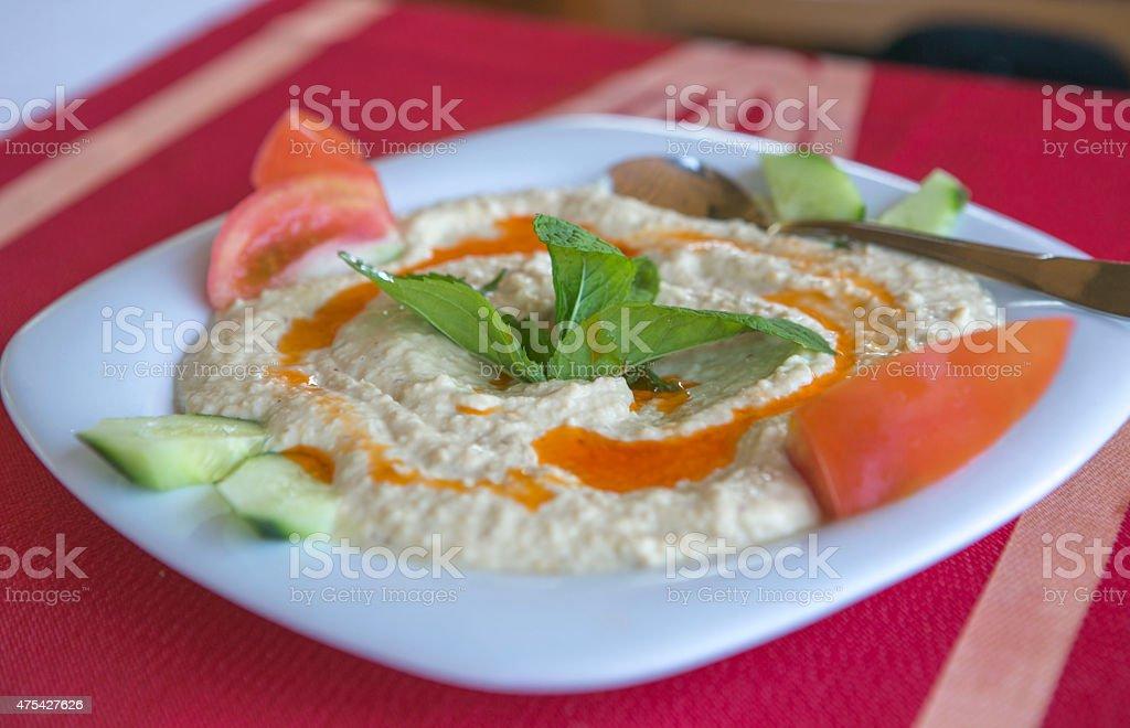 traditional humus plate in nicosia cyprus stock photo