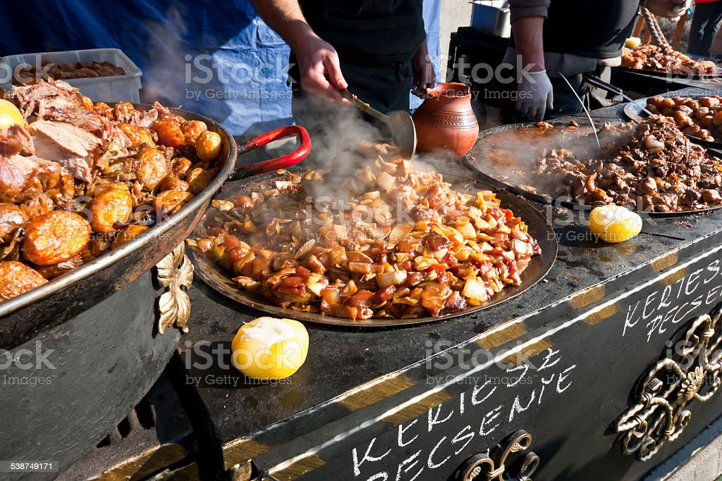 Traditional hungarian food at a carnival stock photo