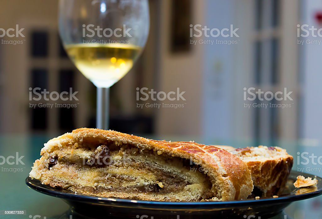 Traditional Hungarian xmas rolls with wine stock photo