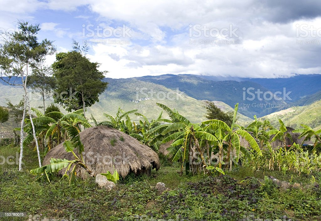 Traditional hut in an Indonesian mountain village stock photo