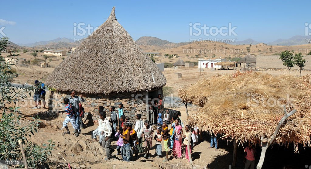 Traditional Hut in Eritrea stock photo