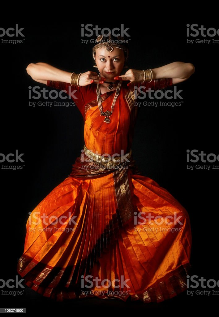 Traditional indian dance position: the demon stock photo