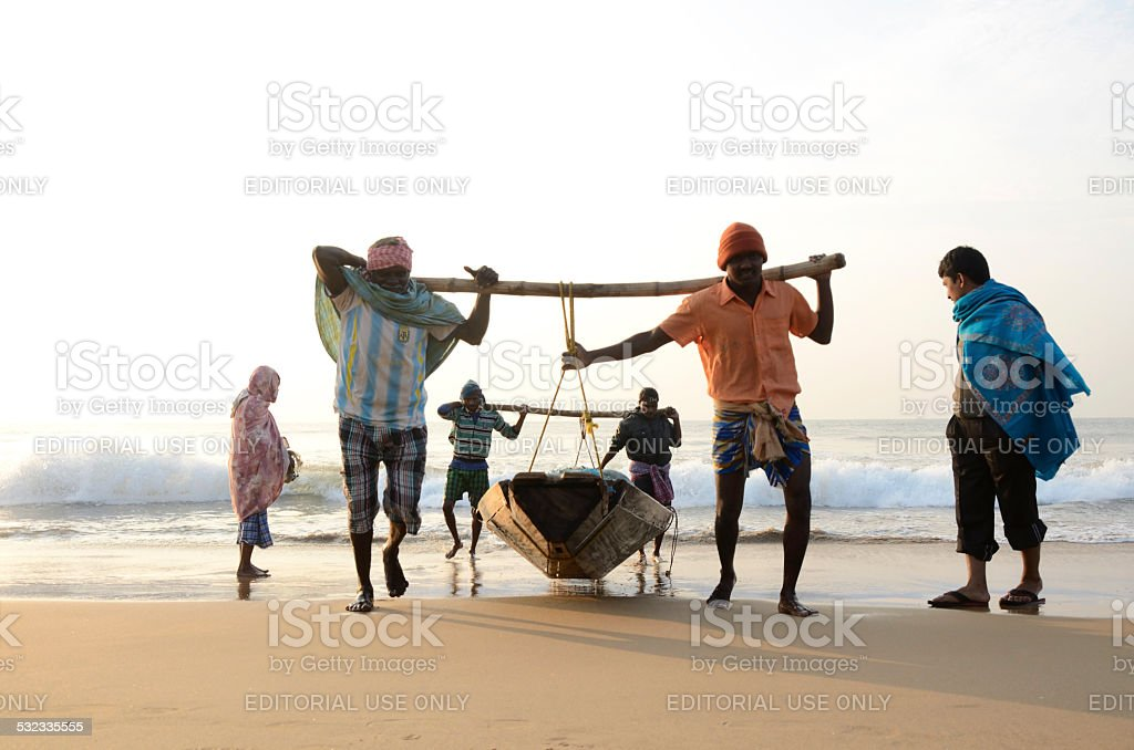 Traditional Indian fishermen stock photo