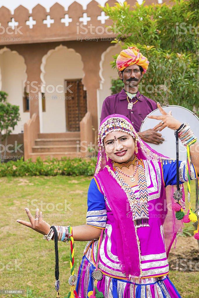 traditional indian folk dancers, Jaipur, India royalty-free stock photo