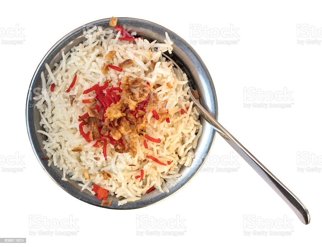 Traditional Indian rice in typical bowl, isolated on white stock photo