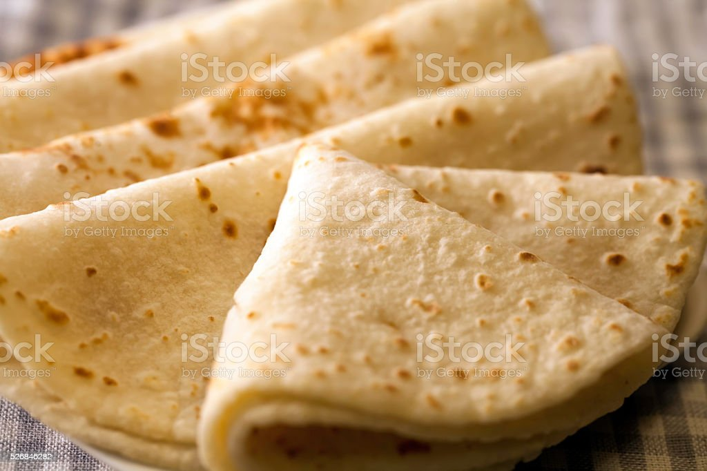Traditional Indian Roti Ready to Serve stock photo