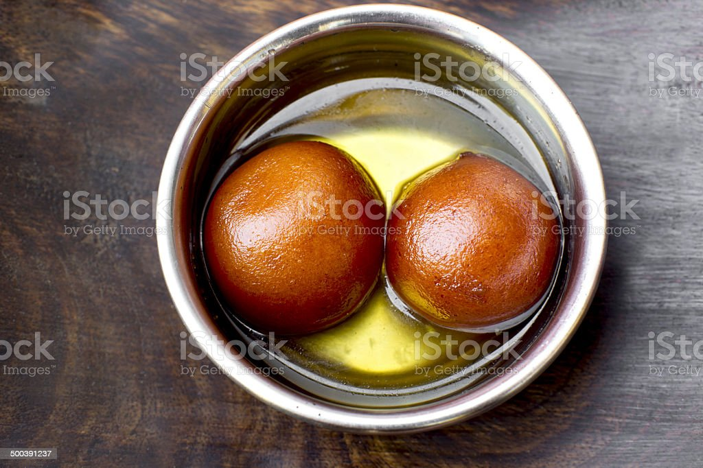 Traditional indian sweets Gulab Jamun stock photo