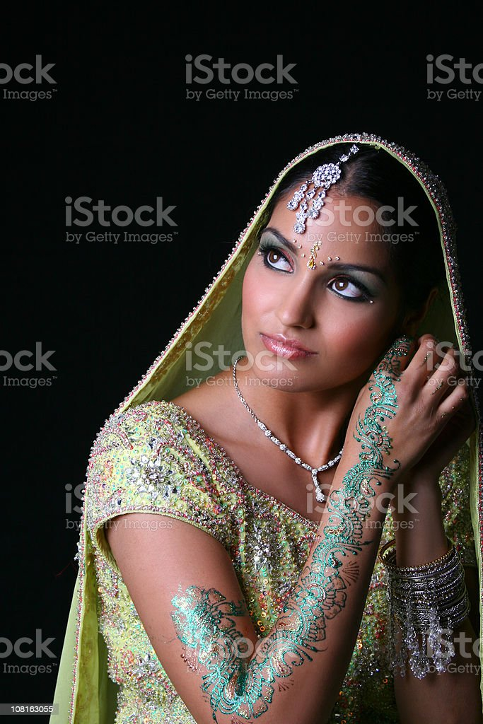 Traditional Indian Woman Wearing Bridal Dress stock photo
