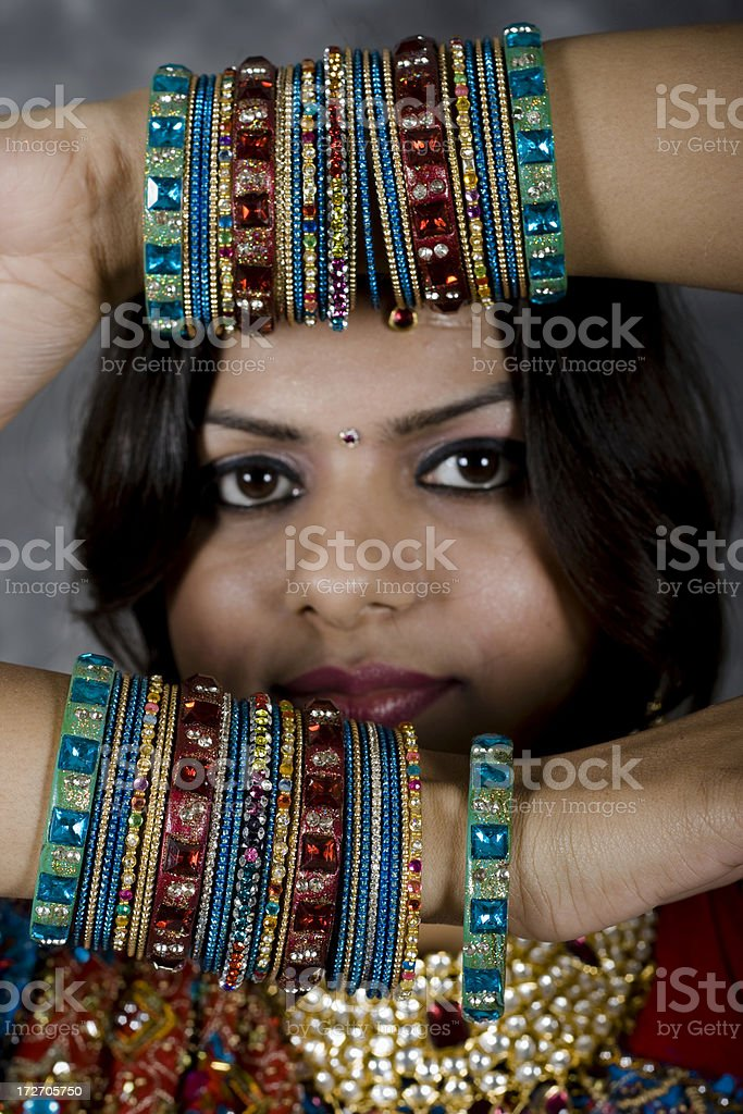 Traditional Indian Woman with bangles royalty-free stock photo