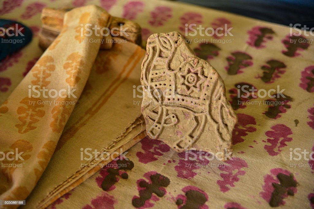 Traditional Indian Woodblock Prints and Block, India stock photo