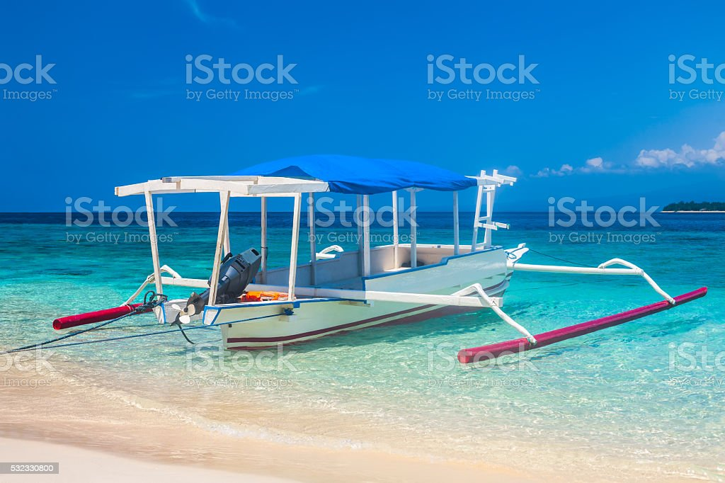 traditional Indonesia boat Jukung stock photo