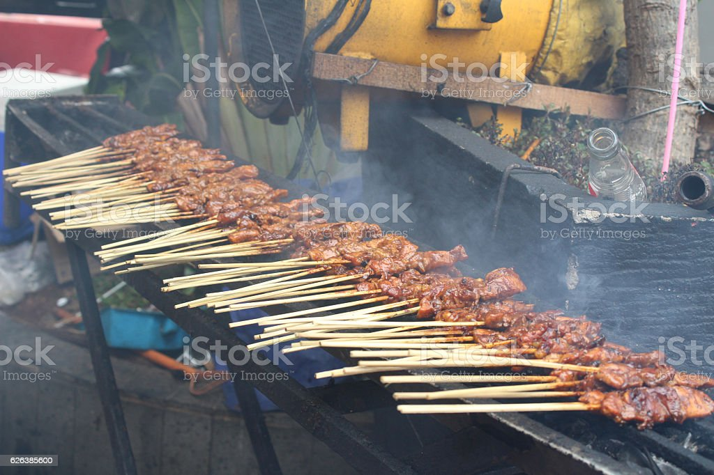 Traditional Indonesian chicken sate stock photo