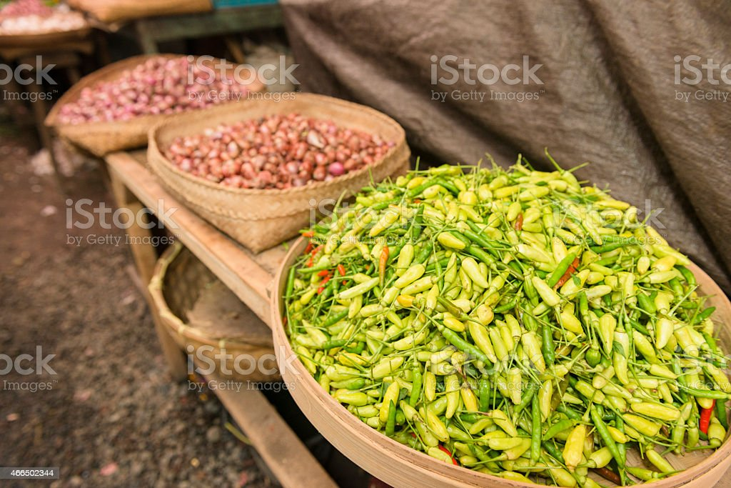 Traditional Indonesian Farmer's Market Stall Sells Cooking Ingredients stock photo