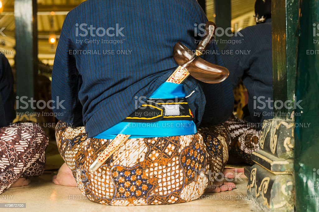 Traditional Indonesian Kris Sword Worn by Men at Palace Yogyakarta stock photo