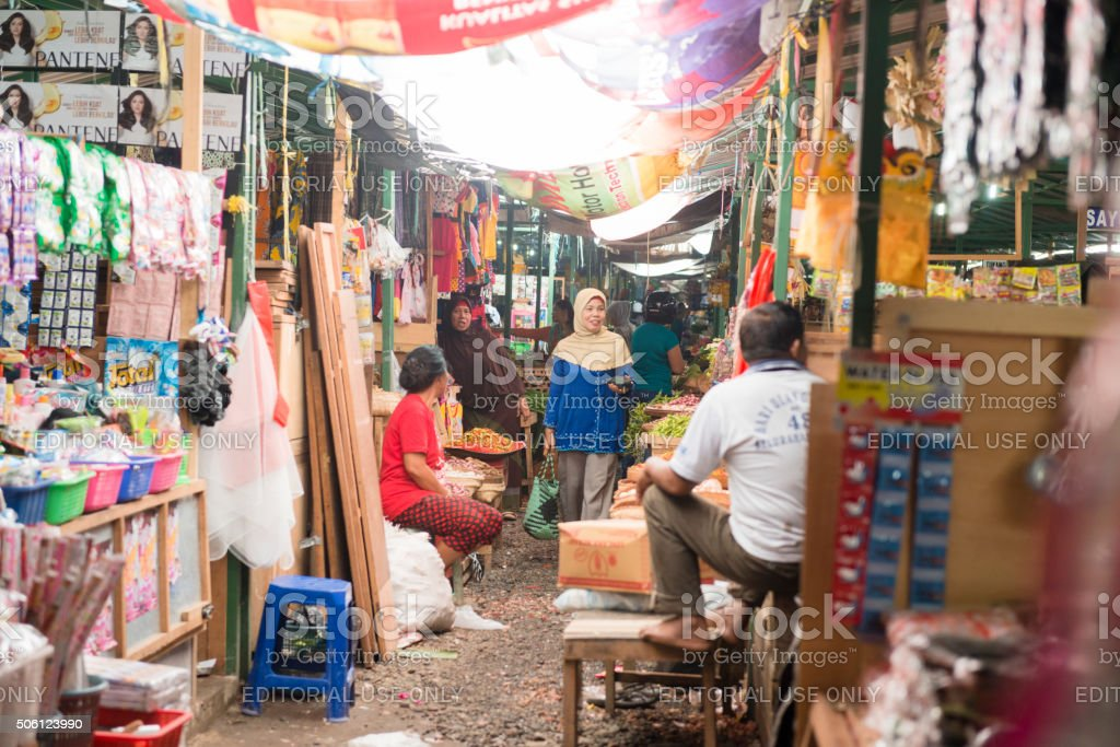 Traditional Indonesian Market Stall Shopping in Rural Bali stock photo