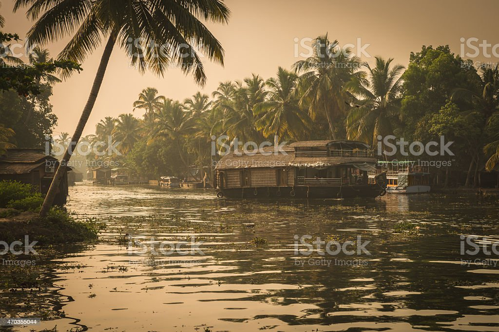 Traditional Inian house boat stock photo
