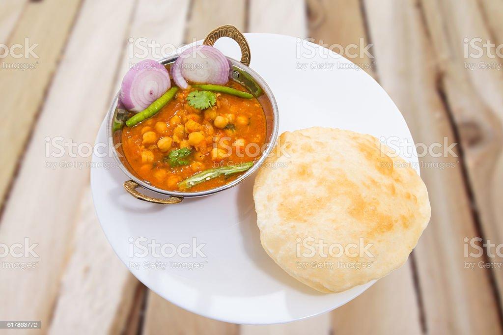 Traditional Inidan fastfood - Chola Bhautra stock photo