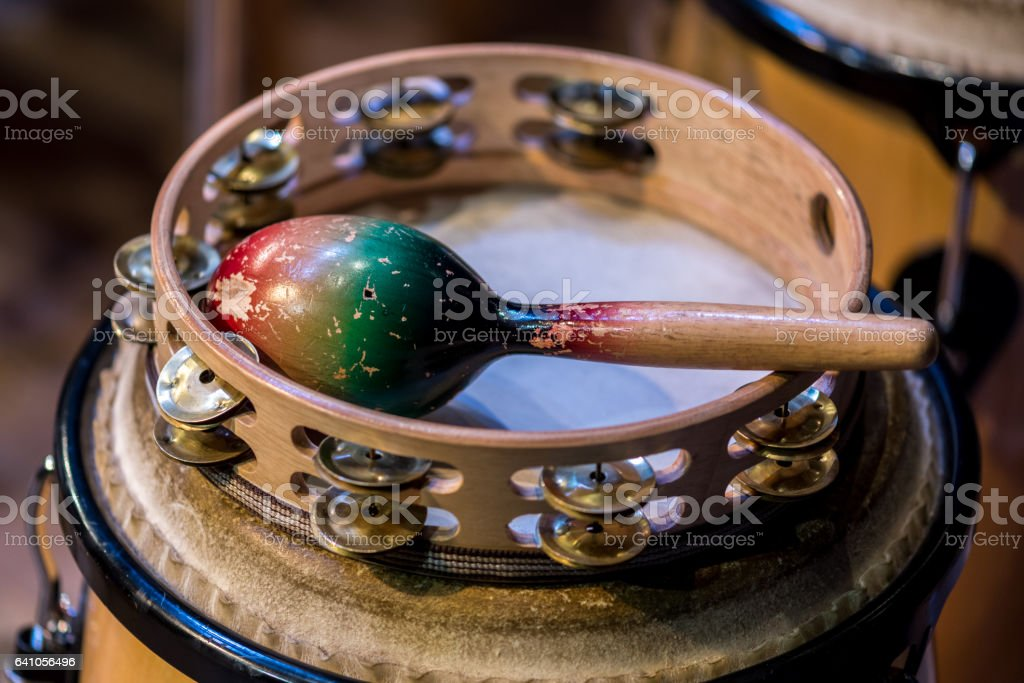 Traditional instrument rattle stock photo