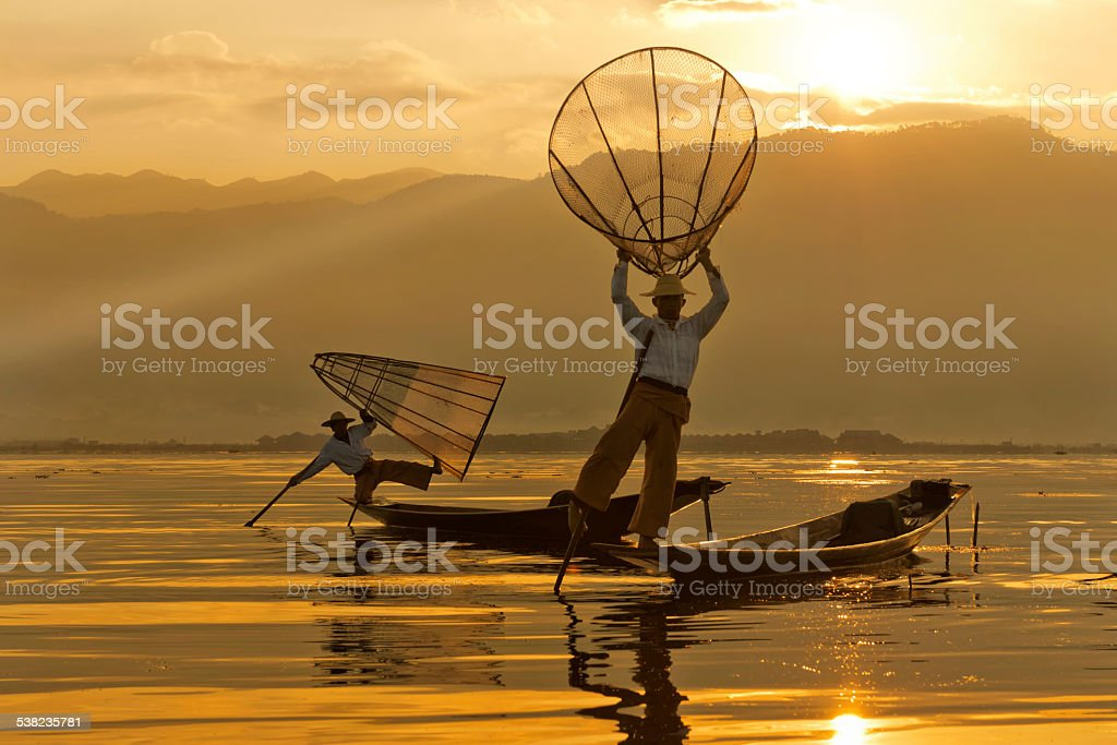Traditional Intha Fishing Style stock photo