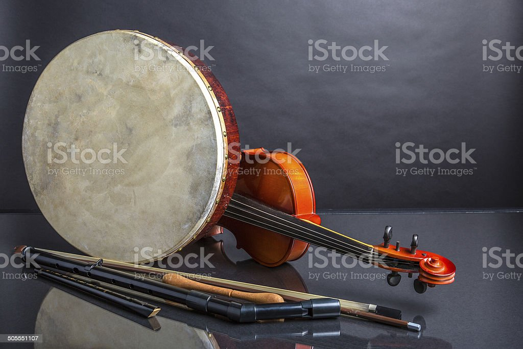 Traditional Irish musical instruments stock photo